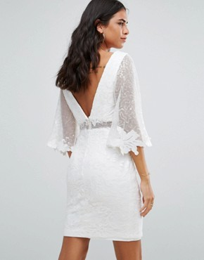 photo Batwing Lace Mini Dress by Forever Unique, color Ivory - Image 2