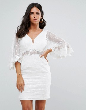 photo Batwing Lace Mini Dress by Forever Unique, color Ivory - Image 1