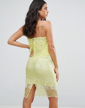 photo Lace Dress with 2 in 1 Detailing by Forever Unique, color Lime - Image 2