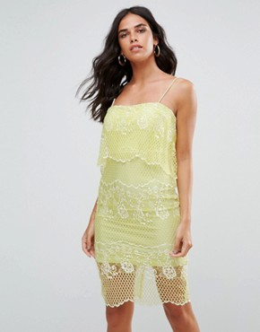photo Lace Dress with 2 in 1 Detailing by Forever Unique, color Lime - Image 1