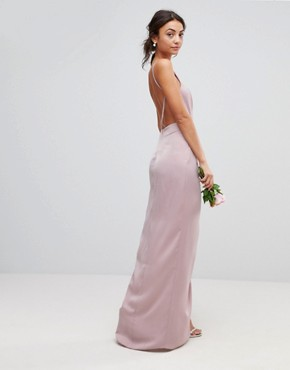 photo Bridesmaid Drape Front Strappy Back Maxi Dress by ASOS DESIGN Tall, color Mink - Image 2