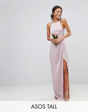 photo Bridesmaid Drape Front Strappy Back Maxi Dress by ASOS DESIGN Tall, color Mink - Image 1