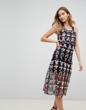 photo Embrodiered Floral Midi Dress by RD & Koko, color Black - Image 1
