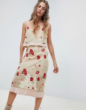 photo Overlay Cami Dress with Floral Embroidery by RD & Koko, color Multi - Image 1