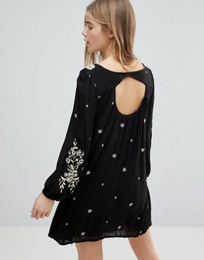 photo Long Sleeve Dress with Floral Embrodiery by RD & Koko, color Black - Image 2