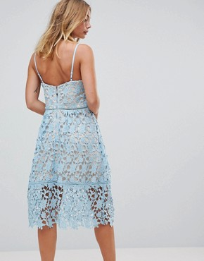 photo Pretty Lace Midi Dress with Contrast Lining by RD & Koko, color Blue - Image 2