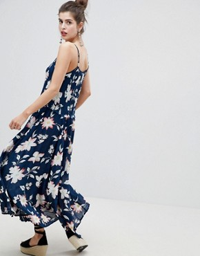 photo Floral Racerneck Maxi Dress by RD & Koko, color Navy - Image 2