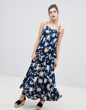 photo Floral Racerneck Maxi Dress by RD & Koko, color Navy - Image 1