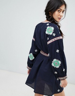 photo Long Sleeve Embroidered Skater Dress by RD & Koko, color Navy - Image 2