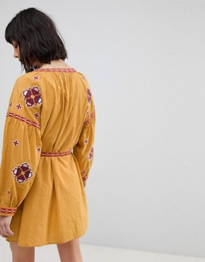 photo Long Sleeve Embrodiered Festival Skater Dress by RD & Koko, color Mustard - Image 2