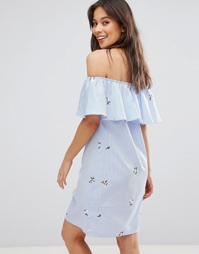 photo Frill Overlay Bandeau Denim Dress with Floral Embroidery by RD & Koko, color Blue - Image 2
