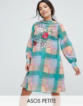 photo Check Dress with Embroidery by ASOS Maternity PETITE, color Multi - Image 1