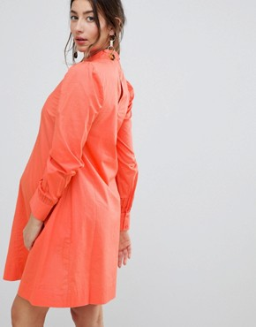 photo Dress with Lattice Front by ASOS Maternity, color Coral - Image 2