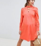 photo Dress with Lattice Front by ASOS Maternity, color Coral - Image 1