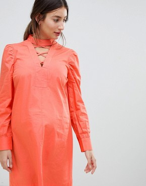 photo Dress with Lattice Front by ASOS Maternity, color Coral - Image 3
