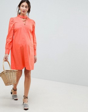 photo Dress with Lattice Front by ASOS Maternity, color Coral - Image 4