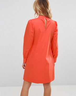 photo Tie Waist Dress with Lattice Front by ASOS Maternity PETITE, color Coral - Image 2