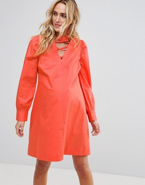 photo Tie Waist Dress with Lattice Front by ASOS Maternity PETITE, color Coral - Image 1