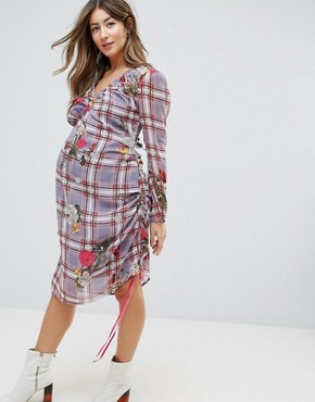 photo Floral and Check Midi Dress with Tie Side Channelling Detail by ASOS Maternity, color Multi - Image 1