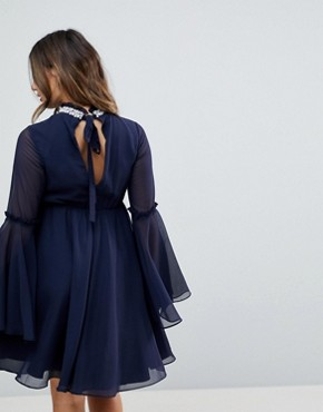 photo Embellished Frill Neck Fluted Sleeve Mini Dress by ASOS Maternity, color Navy - Image 2