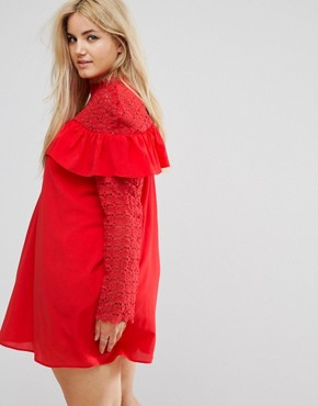 photo Crochet High Neck Detailed Dress with Long Sleeves. by Club L Plus, color Poppy Red - Image 2