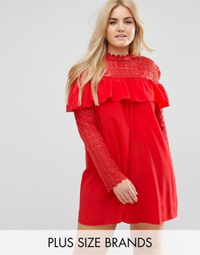 photo Crochet High Neck Detailed Dress with Long Sleeves. by Club L Plus, color Poppy Red - Image 1