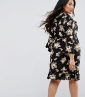 photo 3/4 Sleeve Detailed Wrap Black Floral Day Dress by Club L Plus, color Black Floral - Image 2