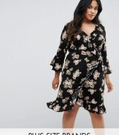 photo 3/4 Sleeve Detailed Wrap Black Floral Day Dress by Club L Plus, color Black Floral - Image 1
