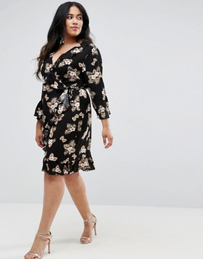 photo 3/4 Sleeve Detailed Wrap Black Floral Day Dress by Club L Plus, color Black Floral - Image 4