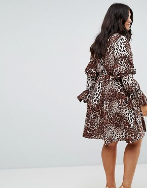 photo High Neck Detailed Tiered Arm Dress by Club L Plus, color Leopard Print - Image 2