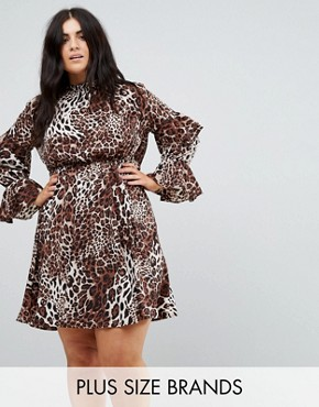 photo High Neck Detailed Tiered Arm Dress by Club L Plus, color Leopard Print - Image 1