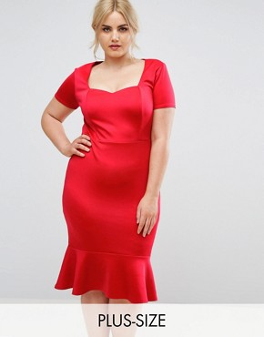 photo Office Scuba Sweetheart Detailed Midi Bodycon Dress by Club L Plus, color Red - Image 1