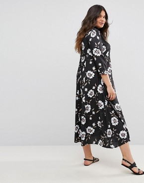 photo Collared Detailed Woven Shirt Dress with Crochet Detail by Club L Plus, color Black Floral Print - Image 2