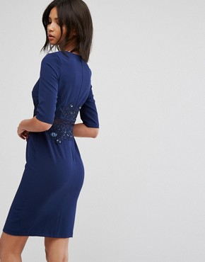 photo Pencil Dress with Mesh Insert & Sequin by Little Mistress, color Navy - Image 2