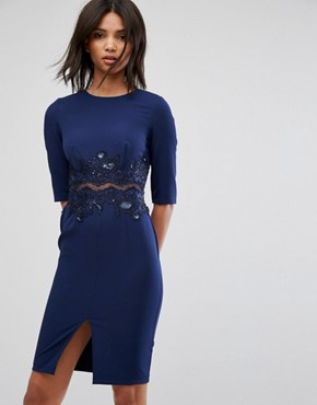 photo Pencil Dress with Mesh Insert & Sequin by Little Mistress, color Navy - Image 1