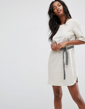 photo Tie Waist Shift Dress by Vero Moda, color Oatmeal - Image 1