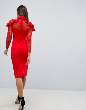 photo Midi Pencil Dress with Mesh and Frill Details by ASOS PREMIUM, color Red - Image 2
