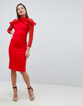 photo Midi Pencil Dress with Mesh and Frill Details by ASOS PREMIUM, color Red - Image 1