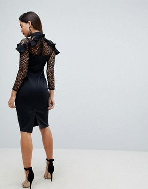 photo Midi Pencil Dress with Mesh and Frill Details by ASOS PREMIUM, color Black - Image 2