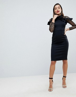 photo Midi Pencil Dress with Mesh and Frill Details by ASOS PREMIUM, color Black - Image 1