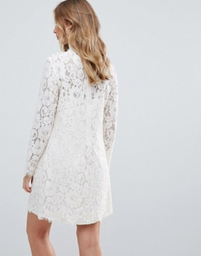 photo Dorothy Lace High Neck Dress by Deby Debo, color White - Image 2