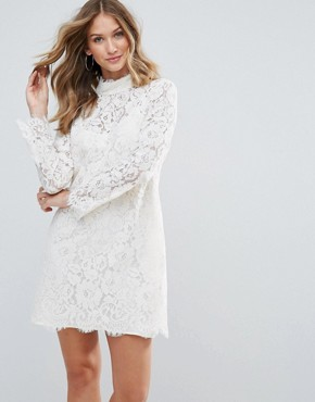 photo Dorothy Lace High Neck Dress by Deby Debo, color White - Image 1