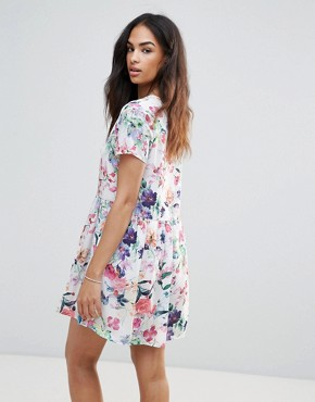 photo Flower Print Dress by FRNCH, color White Flower Print - Image 2