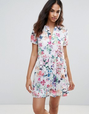 photo Flower Print Dress by FRNCH, color White Flower Print - Image 1