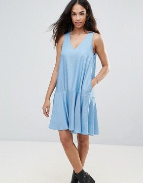 photo Chambray Swing Dress by FRNCH, color Blue Jean - Image 1