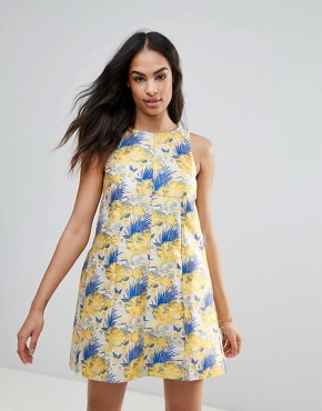 photo Printed Dress by FRNCH, color Print Blue Yellow - Image 1