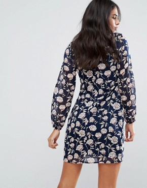 photo High Neck Dress in Rose Print by Yumi, color Navy - Image 2