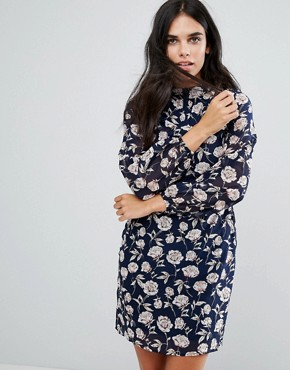 photo High Neck Dress in Rose Print by Yumi, color Navy - Image 1
