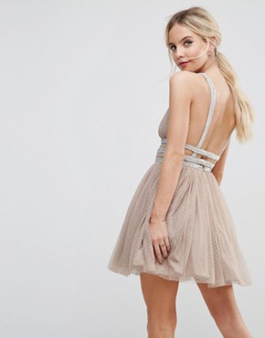 photo Tulle Strappy Embellished Mini Skater Dress by ASOS PETITE, color Mink - Image 2