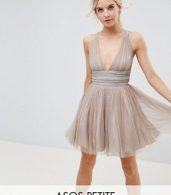 photo Tulle Strappy Embellished Mini Skater Dress by ASOS PETITE, color Mink - Image 1
